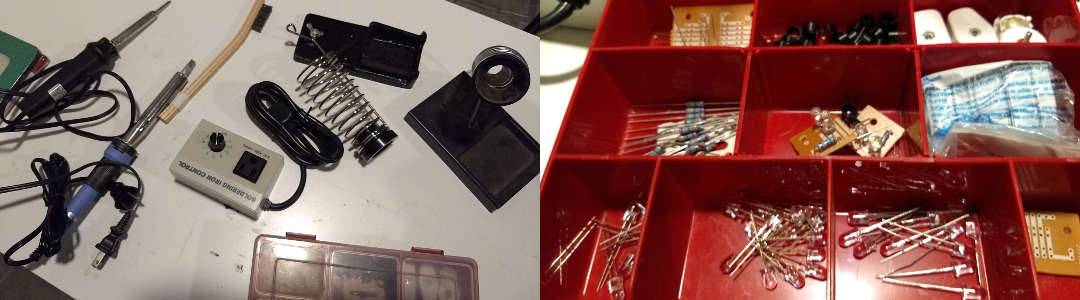 "On the left is scattered soldering equipment and accessories. On the right is a close up of contents of electronics ""tackle"" box with electronics components."